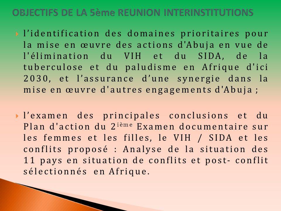 lidentification des domaines prioritaires pour la mise en œuvre des actions d Abuja en vue de l élimination du VIH et du SIDA, de la tuberculose et du paludisme en Afrique d ici 2030, et lassurance dune synergie dans la mise en œuvre d autres engagements d Abuja ; lexamen des principales conclusions et du Plan d action du 2 ième Examen documentaire sur les femmes et les filles, le VIH / SIDA et les conflits proposé : Analyse de la situation des 11 pays en situation de conflits et post- conflit sélectionnés en Afrique.