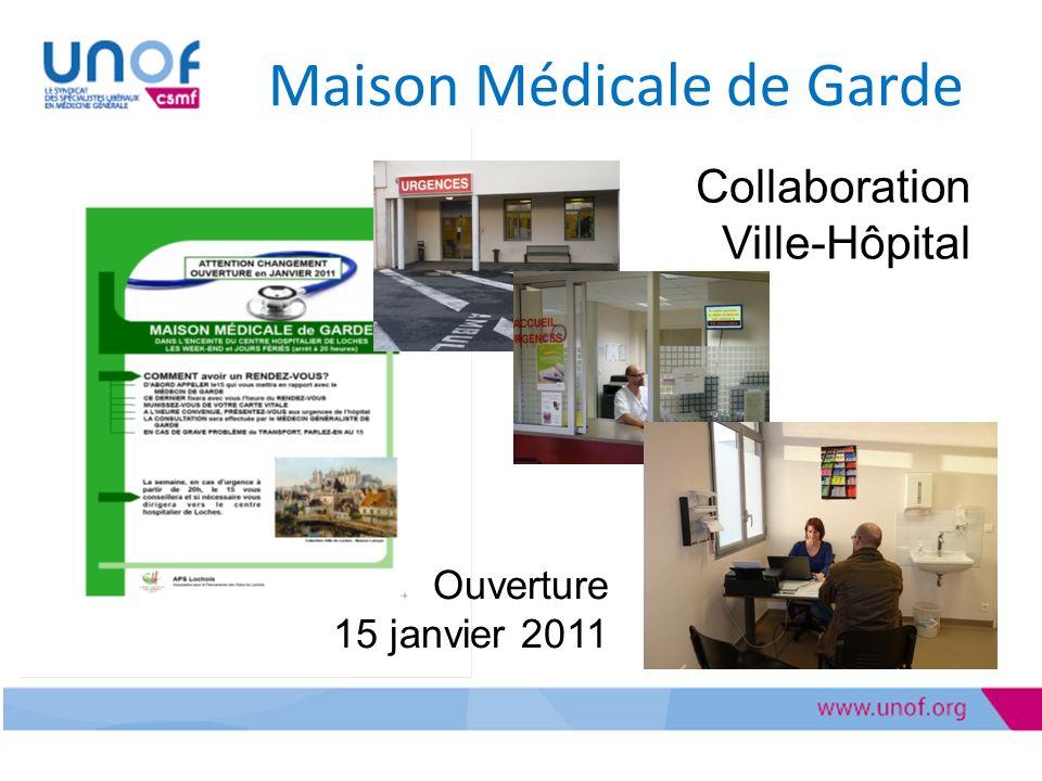 Maison Médicale de Garde Collaboration Ville-Hôpital Ouverture 15 janvier 2011