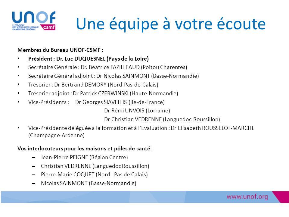 Une équipe à votre écoute Membres du Bureau UNOF-CSMF : Président : Dr.