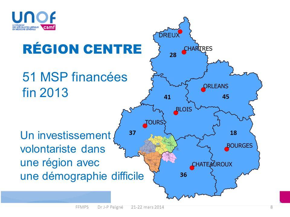 8 RÉGION CENTRE Un investissement volontariste dans une région avec une démographie difficile 51 MSP financées fin 2013 FFMPS Dr J-P Peigné 21-22 mars 2014