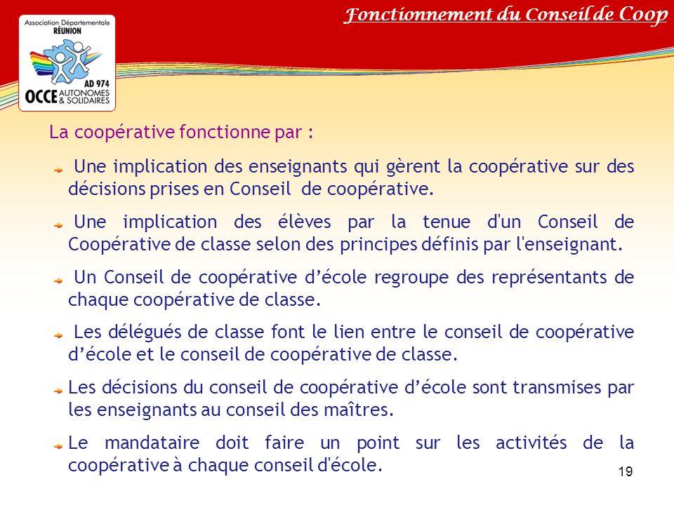 Titre de votre diaporama La coopérative fonctionne par : Une implication des enseignants qui gèrent la coopérative sur des décisions prises en Conseil