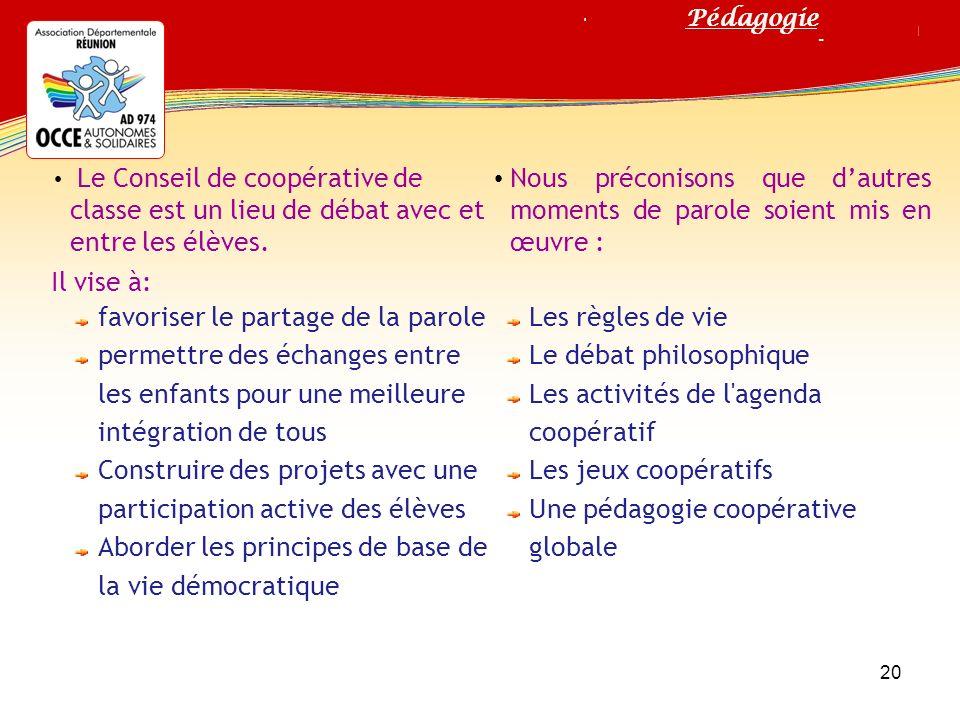 Titre de votre diaporama Le Conseil de coopérative de classe est un lieu de débat avec et entre les élèves. Il vise à: favoriser le partage de la paro