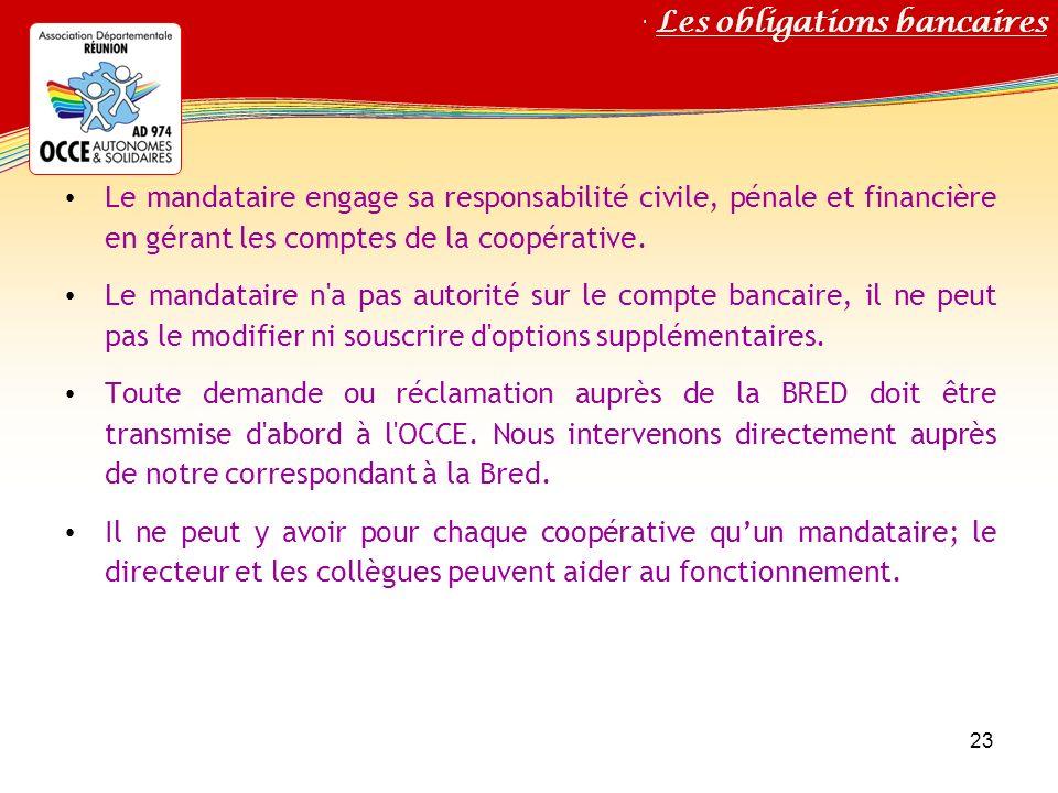 Titre de votre diaporama Le mandataire engage sa responsabilité civile, pénale et financière en gérant les comptes de la coopérative. Le mandataire n'