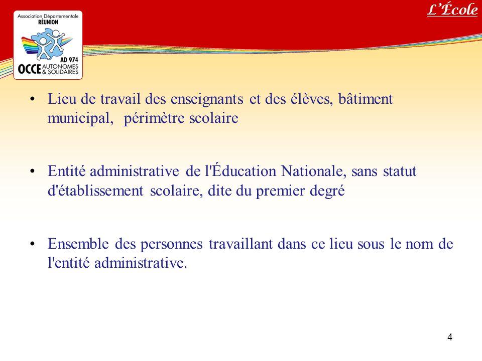 Titre de votre diaporama 4 Lieu de travail des enseignants et des élèves, bâtiment municipal, périmètre scolaire Entité administrative de l'Éducation