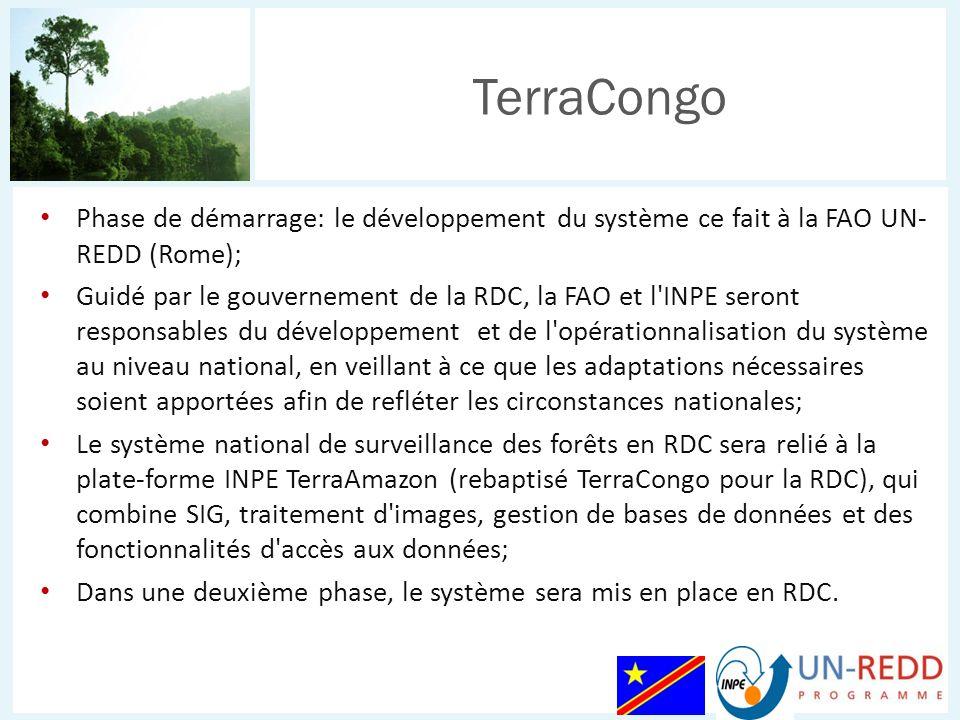 Phase de démarrage: le développement du système ce fait à la FAO UN- REDD (Rome); Guidé par le gouvernement de la RDC, la FAO et l'INPE seront respons