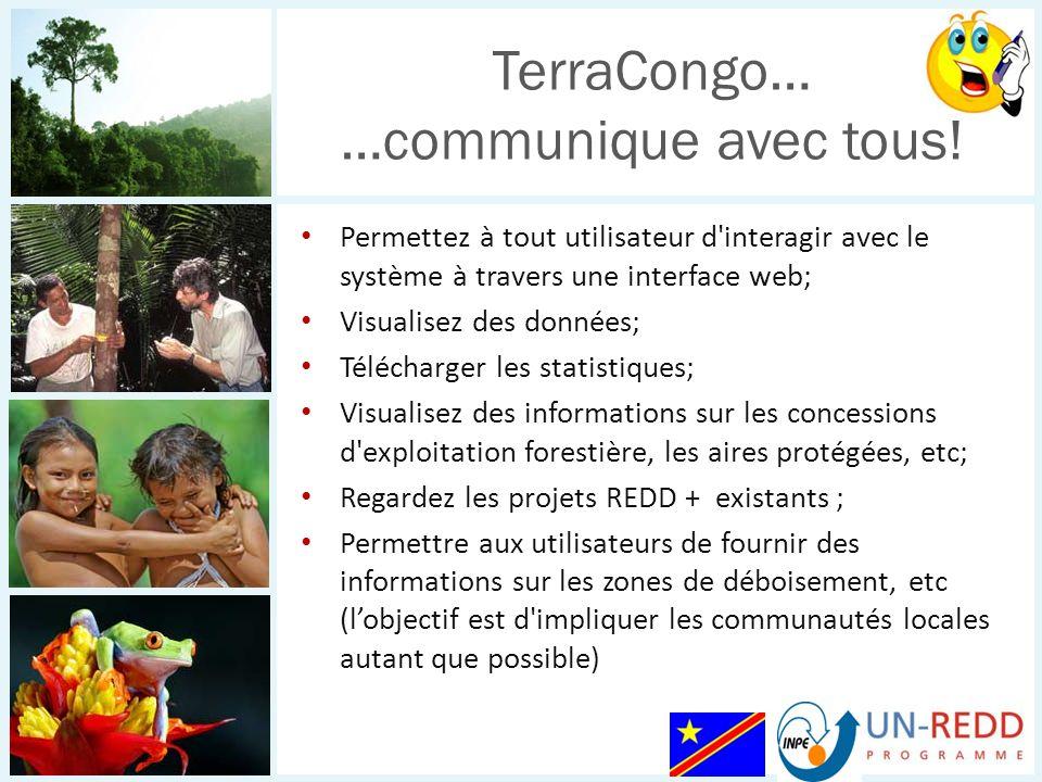 Permettez à tout utilisateur d interagir avec le système à travers une interface web; Visualisez des données; Télécharger les statistiques; Visualisez des informations sur les concessions d exploitation forestière, les aires protégées, etc; Regardez les projets REDD + existants ; Permettre aux utilisateurs de fournir des informations sur les zones de déboisement, etc (lobjectif est d impliquer les communautés locales autant que possible) TerraCongo… …communique avec tous!