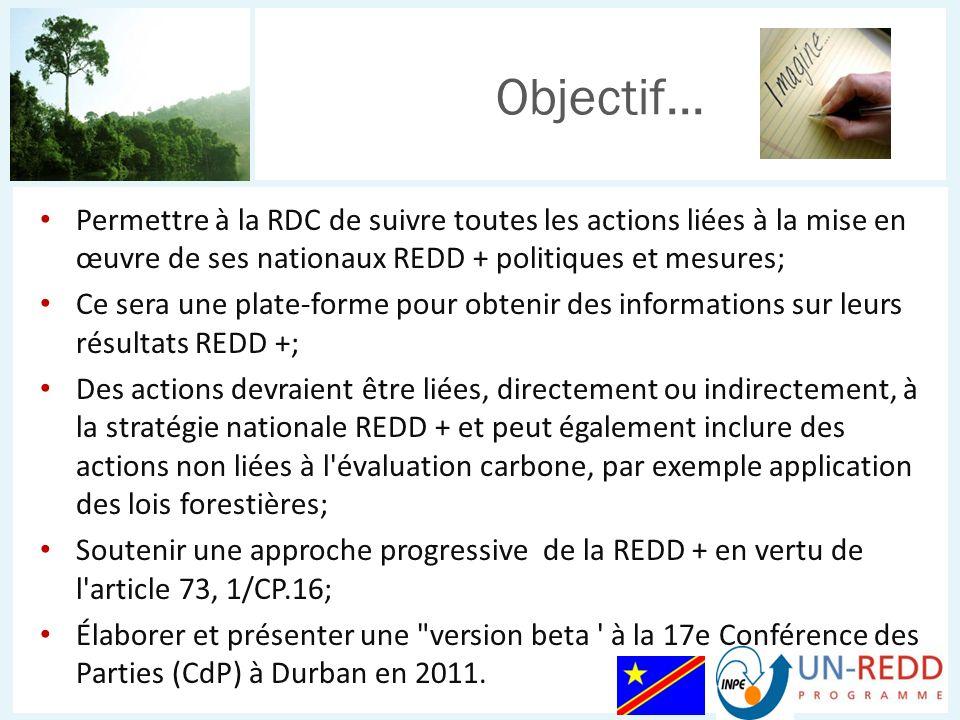 Permettre à la RDC de suivre toutes les actions liées à la mise en œuvre de ses nationaux REDD + politiques et mesures; Ce sera une plate-forme pour o