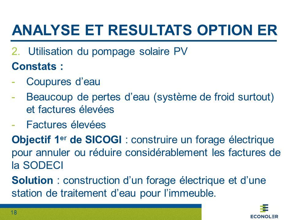 18 ANALYSE ET RESULTATS OPTION ER 2.Utilisation du pompage solaire PV Constats : -Coupures deau -Beaucoup de pertes deau (système de froid surtout) et