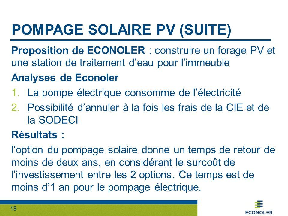 19 POMPAGE SOLAIRE PV (SUITE) Proposition de ECONOLER : construire un forage PV et une station de traitement deau pour limmeuble Analyses de Econoler