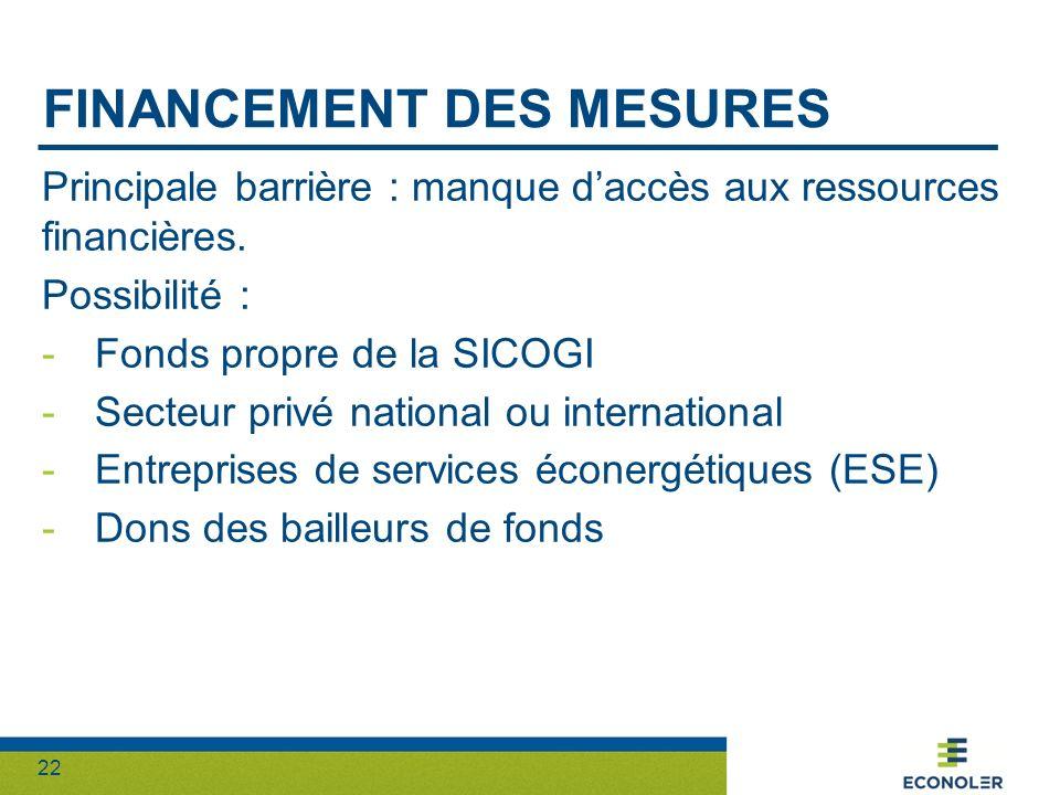 22 FINANCEMENT DES MESURES Principale barrière : manque daccès aux ressources financières. Possibilité : -Fonds propre de la SICOGI -Secteur privé nat