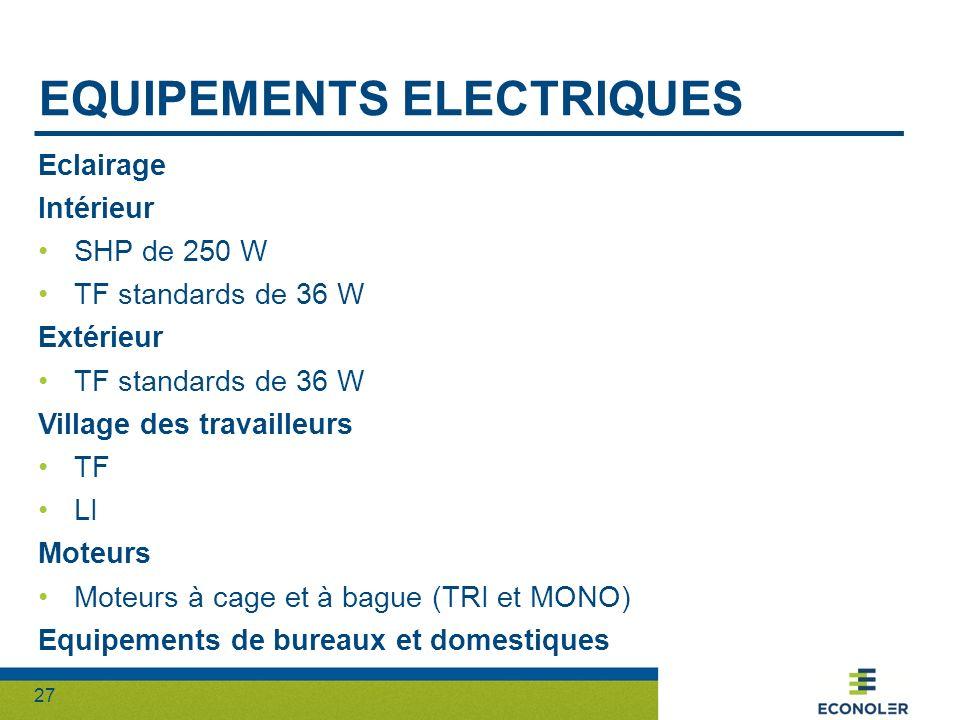 27 EQUIPEMENTS ELECTRIQUES Eclairage Intérieur SHP de 250 W TF standards de 36 W Extérieur TF standards de 36 W Village des travailleurs TF LI Moteurs