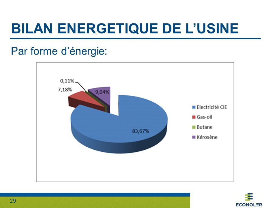 29 BILAN ENERGETIQUE DE LUSINE Par forme dénergie: