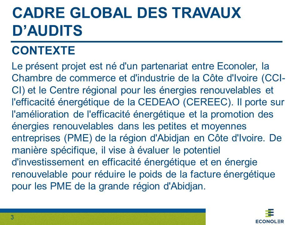 3 CADRE GLOBAL DES TRAVAUX DAUDITS CONTEXTE Le présent projet est né d'un partenariat entre Econoler, la Chambre de commerce et d'industrie de la Côte