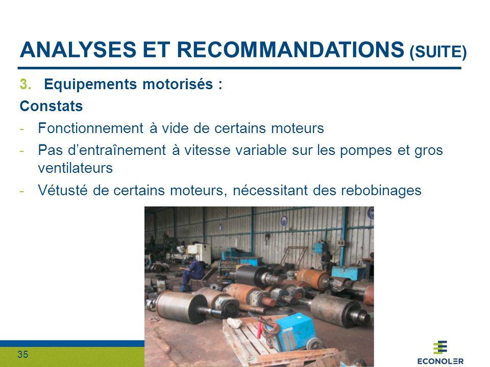 35 ANALYSES ET RECOMMANDATIONS (SUITE) 3.Equipements motorisés : Constats -Fonctionnement à vide de certains moteurs -Pas dentraînement à vitesse vari
