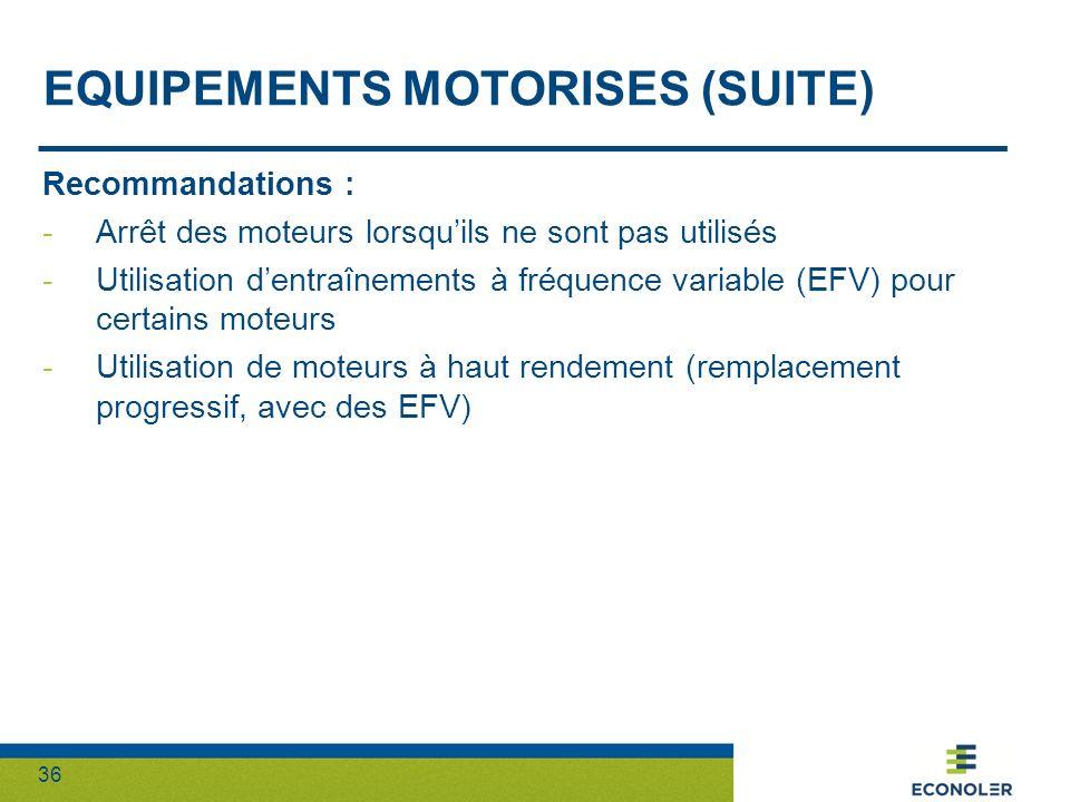 36 EQUIPEMENTS MOTORISES (SUITE) Recommandations : -Arrêt des moteurs lorsquils ne sont pas utilisés -Utilisation dentraînements à fréquence variable