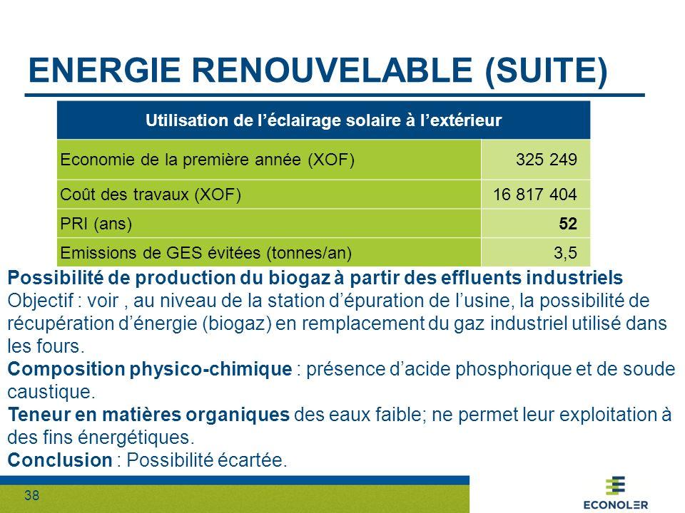 38 ENERGIE RENOUVELABLE (SUITE) Utilisation de léclairage solaire à lextérieur Economie de la première année (XOF)325 249 Coût des travaux (XOF)16 817