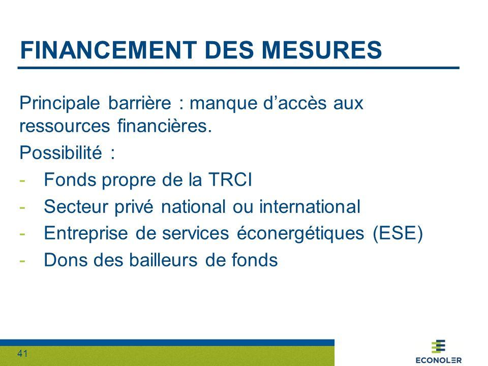 41 FINANCEMENT DES MESURES Principale barrière : manque daccès aux ressources financières. Possibilité : -Fonds propre de la TRCI -Secteur privé natio