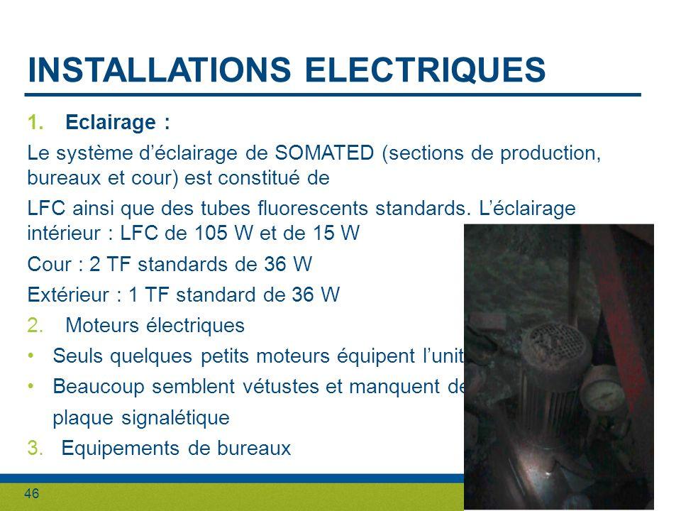 46 INSTALLATIONS ELECTRIQUES 1.Eclairage : Le système déclairage de SOMATED (sections de production, bureaux et cour) est constitué de LFC ainsi que d