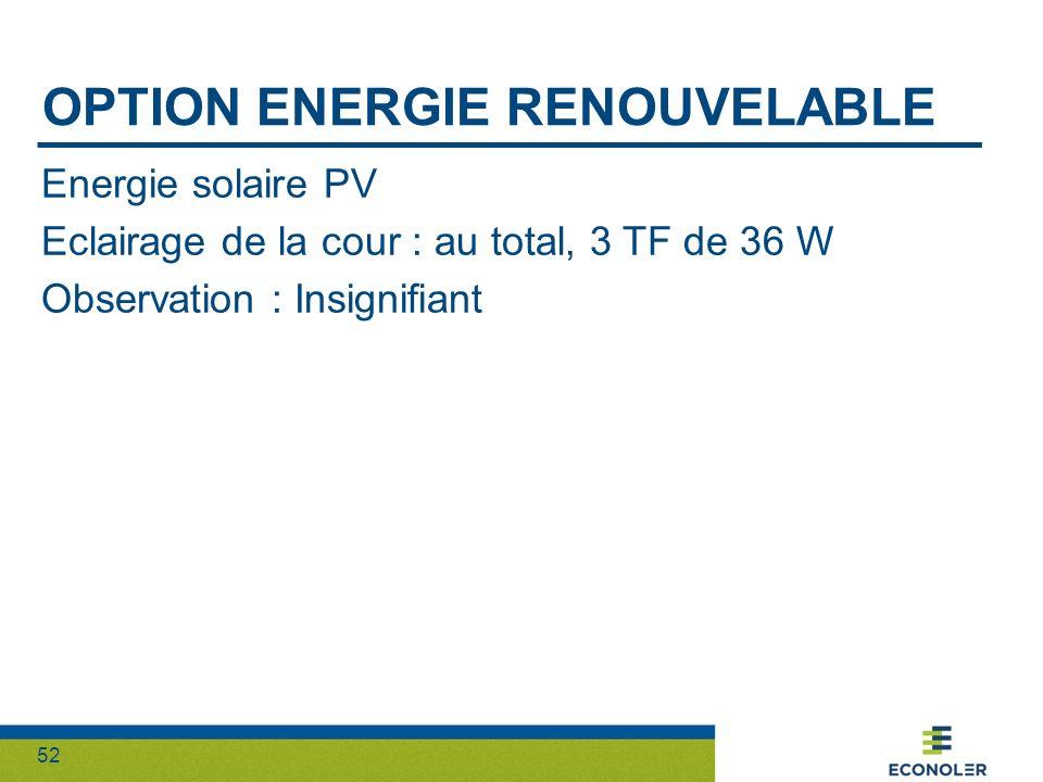 52 OPTION ENERGIE RENOUVELABLE Energie solaire PV Eclairage de la cour : au total, 3 TF de 36 W Observation : Insignifiant