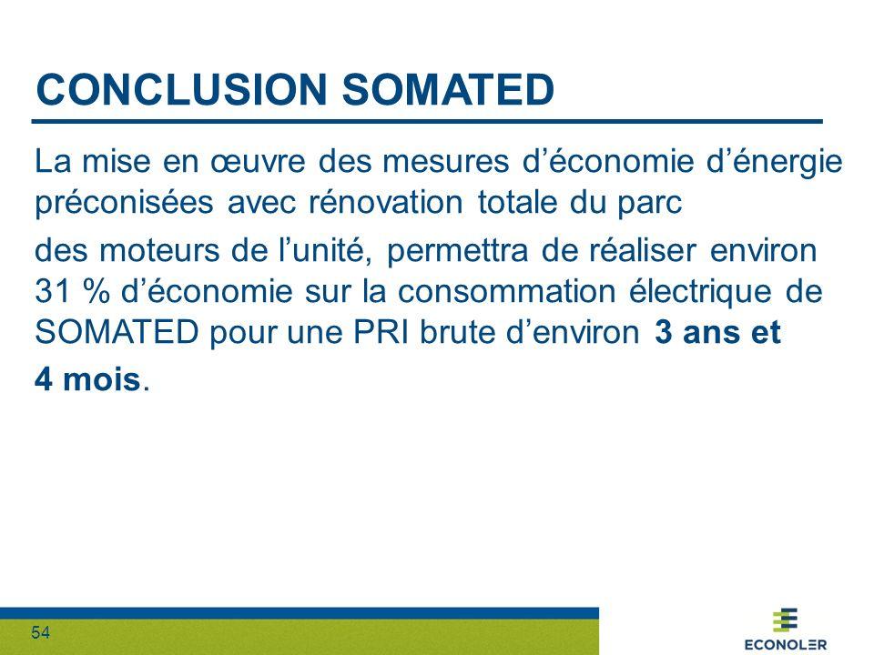 54 CONCLUSION SOMATED La mise en œuvre des mesures déconomie dénergie préconisées avec rénovation totale du parc des moteurs de lunité, permettra de r