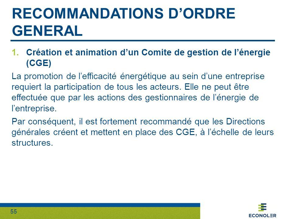 55 RECOMMANDATIONS DORDRE GENERAL 1.Création et animation dun Comite de gestion de lénergie (CGE) La promotion de lefficacité énergétique au sein dune