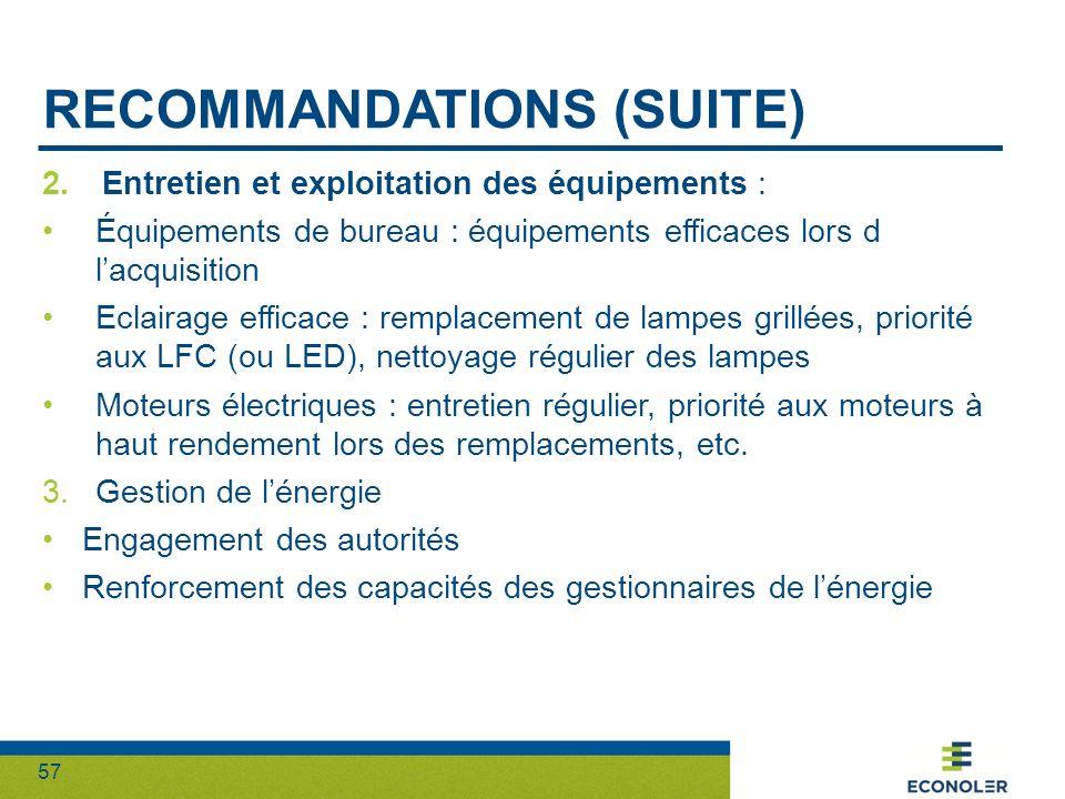 57 RECOMMANDATIONS (SUITE) 2.Entretien et exploitation des équipements : Équipements de bureau : équipements efficaces lors d lacquisition Eclairage e
