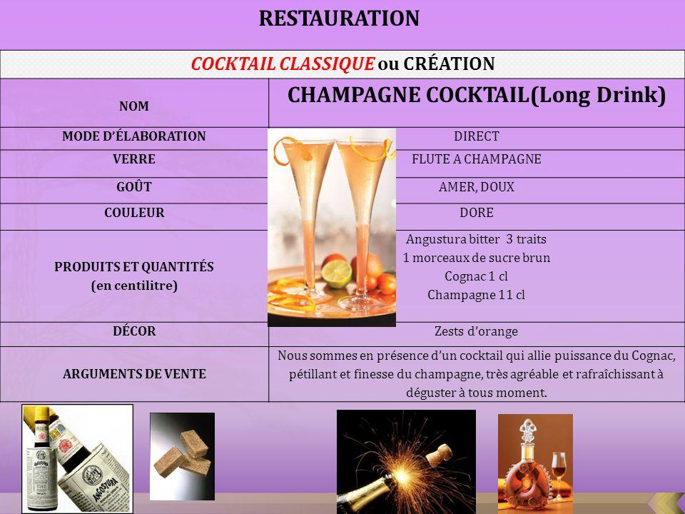 COCKTAIL CLASSIQUE ou CRÉATION NOM Cosmopolitain (Short drink ) MODE DÉLABORATION Shaker VERRE Verre à cocktail GOÛT Attaque franche, note de vodka Citron acidulé COULEUR Rose, trouble PRODUITS ET QUANTITÉS (en centilitre) Vodka Absolut 3 cl Cointreau 2 cl Pulco citron 1.5 cl Sirop dairelles 0.5 cl DÉCOR Zests orange ARGUMENTS DE VENTE Nous sommes en présence dun cocktail puissant au goût doux et agréable dagrumes à consommer frais avant le repas RESTAURATION