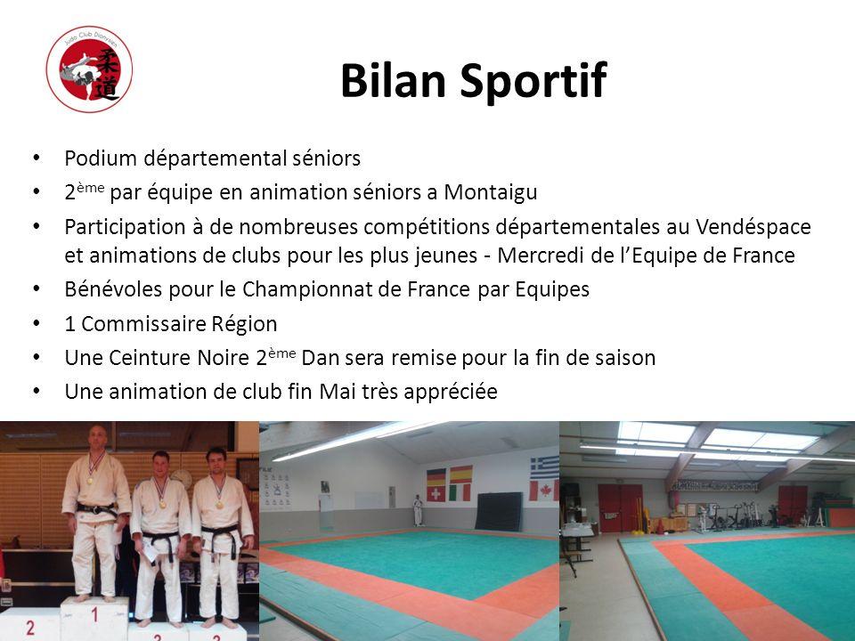 Bilan Sportif Podium départemental séniors 2 ème par équipe en animation séniors a Montaigu Participation à de nombreuses compétitions départementales