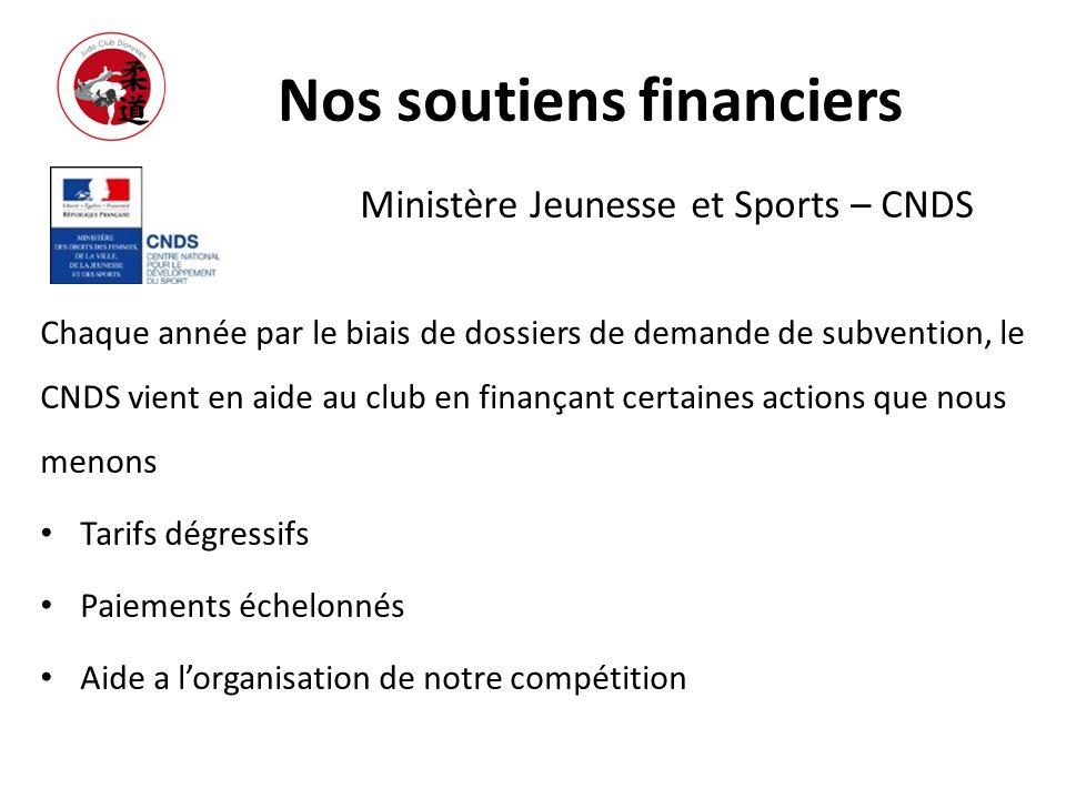 Nos soutiens financiers Ministère Jeunesse et Sports – CNDS Chaque année par le biais de dossiers de demande de subvention, le CNDS vient en aide au c