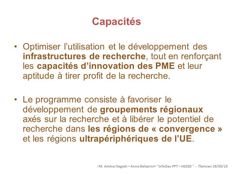 Capacités Optimiser lutilisation et le développement des infrastructures de recherche, tout en renforçant les capacités dinnovation des PME et leur aptitude à tirer profit de la recherche.