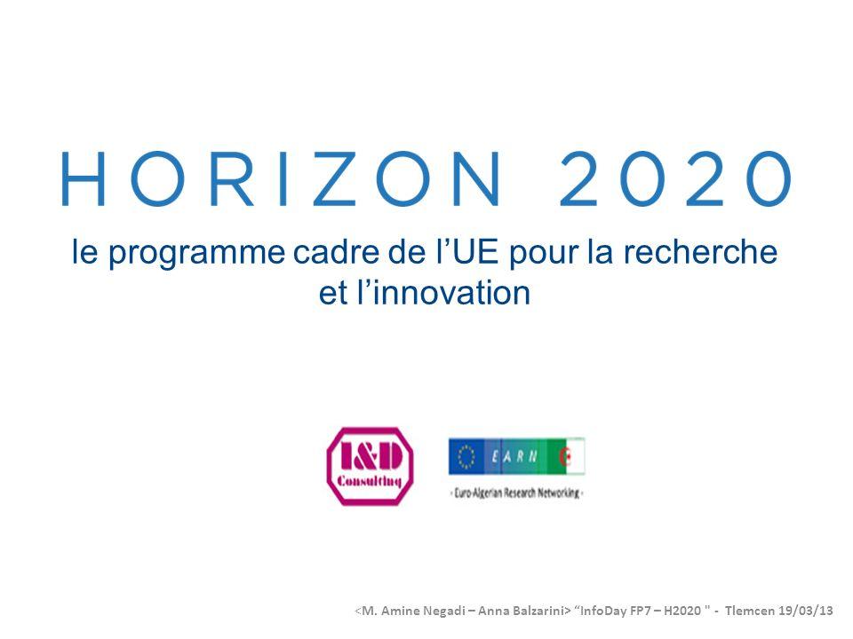 le programme cadre de lUE pour la recherche et linnovation InfoDay FP7 – H2020 - Tlemcen 19/03/13