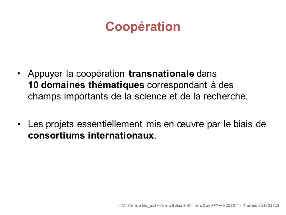 Coopération Appuyer la coopération transnationale dans 10 domaines thématiques correspondant à des champs importants de la science et de la recherche.
