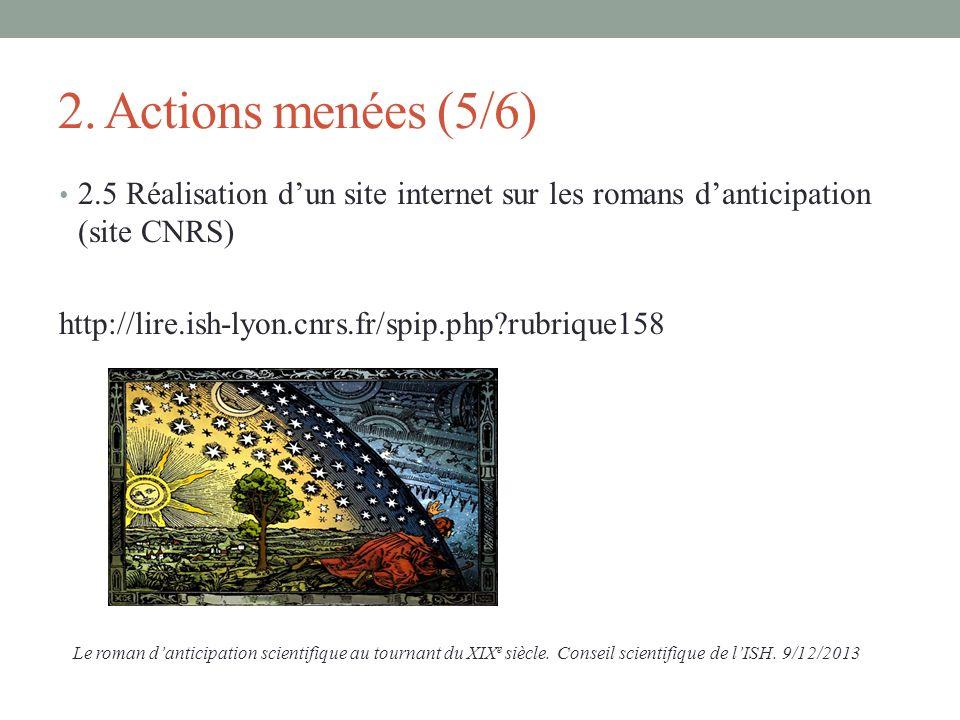 2. Actions menées (5/6) 2.5 Réalisation dun site internet sur les romans danticipation (site CNRS) http://lire.ish-lyon.cnrs.fr/spip.php?rubrique158 L