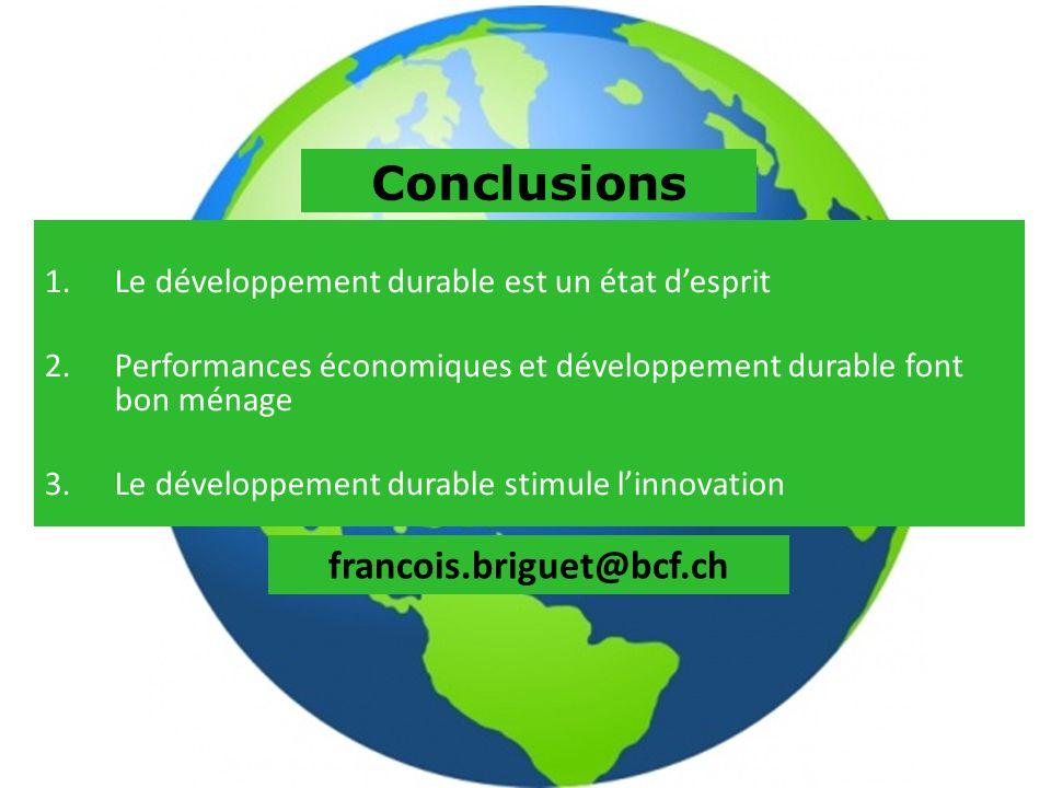 1.Le développement durable est un état desprit 2.Performances économiques et développement durable font bon ménage 3.Le développement durable stimule