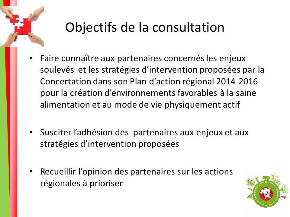 Objectifs de la consultation Faire connaître aux partenaires concernés les enjeux soulevés et les stratégies dintervention proposées par la Concertati