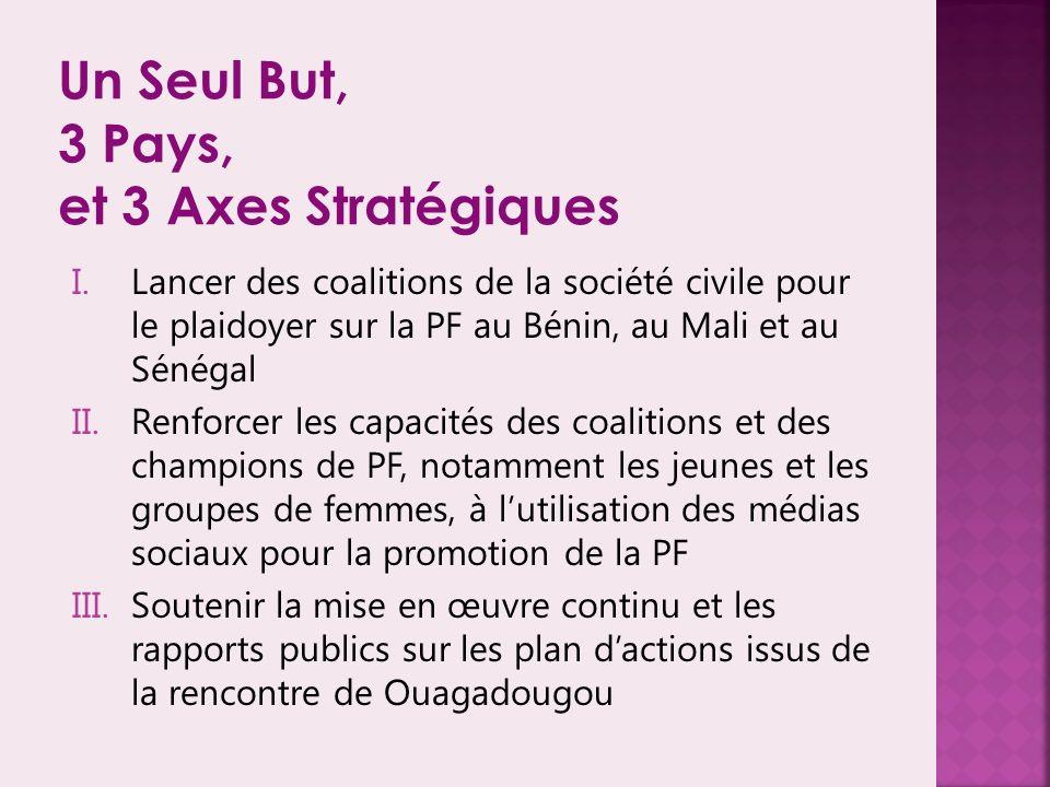 Un Seul But, 3 Pays, et 3 Axes Stratégiques I.Lancer des coalitions de la société civile pour le plaidoyer sur la PF au Bénin, au Mali et au Sénégal II.Renforcer les capacités des coalitions et des champions de PF, notamment les jeunes et les groupes de femmes, à lutilisation des médias sociaux pour la promotion de la PF III.Soutenir la mise en œuvre continu et les rapports publics sur les plan dactions issus de la rencontre de Ouagadougou