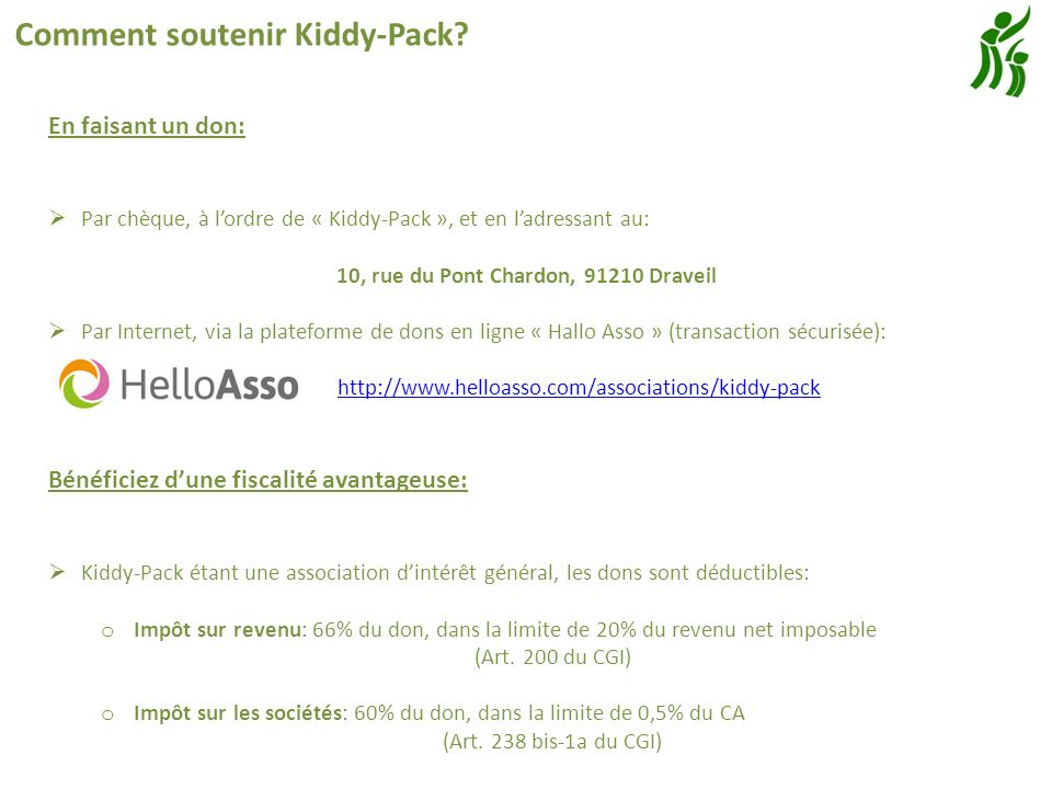 Comment soutenir Kiddy-Pack.