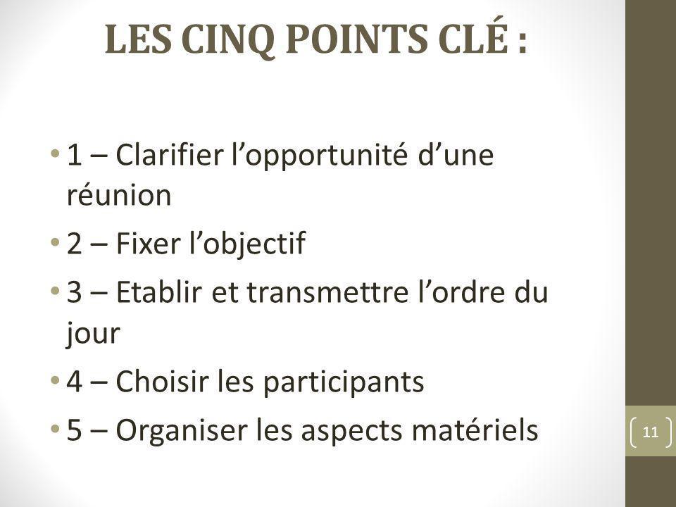 LES CINQ POINTS CLÉ : 1 – Clarifier lopportunité dune réunion 2 – Fixer lobjectif 3 – Etablir et transmettre lordre du jour 4 – Choisir les participan
