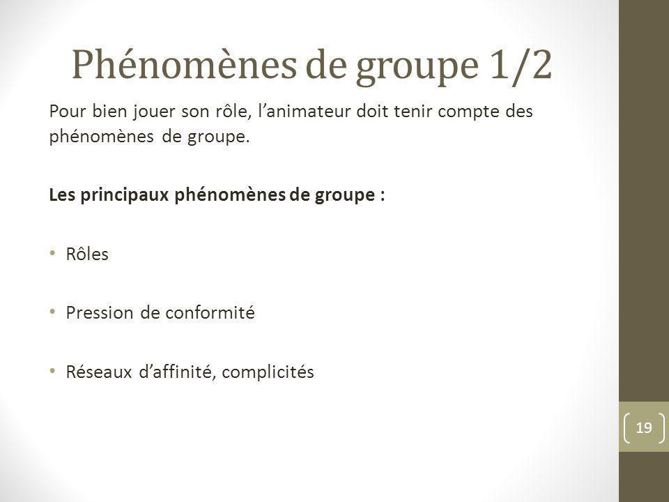 Phénomènes de groupe 1/2 Pour bien jouer son rôle, lanimateur doit tenir compte des phénomènes de groupe. Les principaux phénomènes de groupe : Rôles