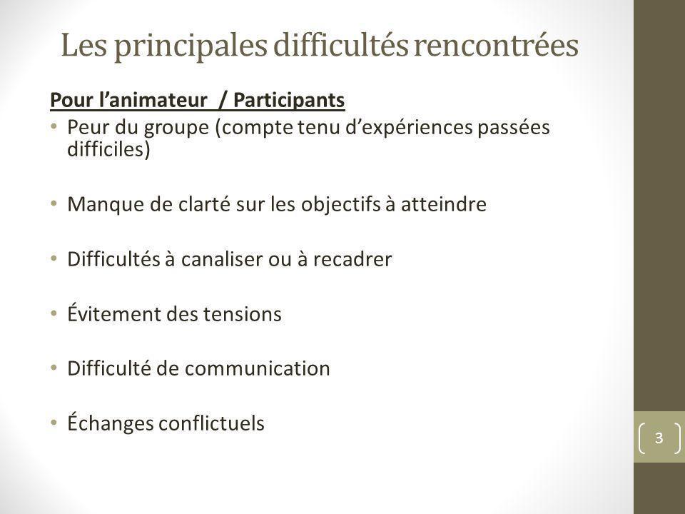 Les principales difficultés rencontrées Pour lanimateur / Participants Peur du groupe (compte tenu dexpériences passées difficiles) Manque de clarté s