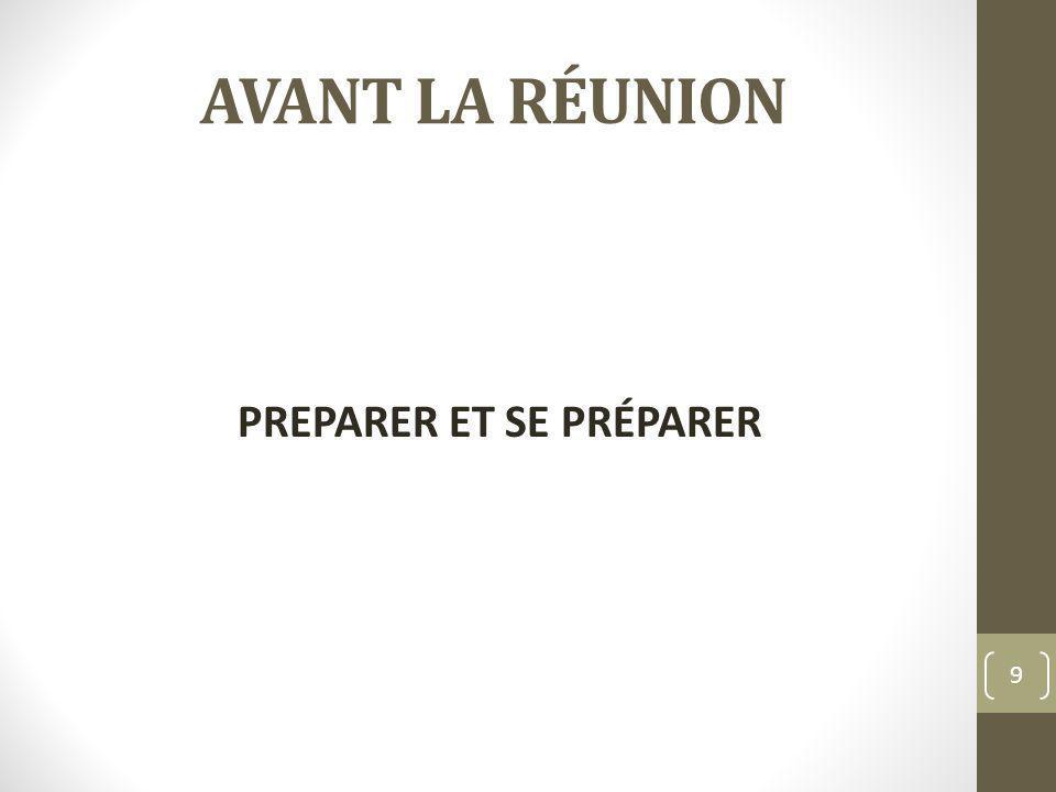 AVANT LA RÉUNION PREPARER ET SE PRÉPARER 9