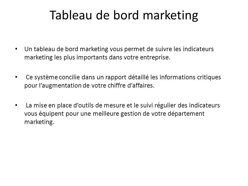 Tableau de bord marketing Un tableau de bord marketing vous permet de suivre les indicateurs marketing les plus importants dans votre entreprise. Ce s