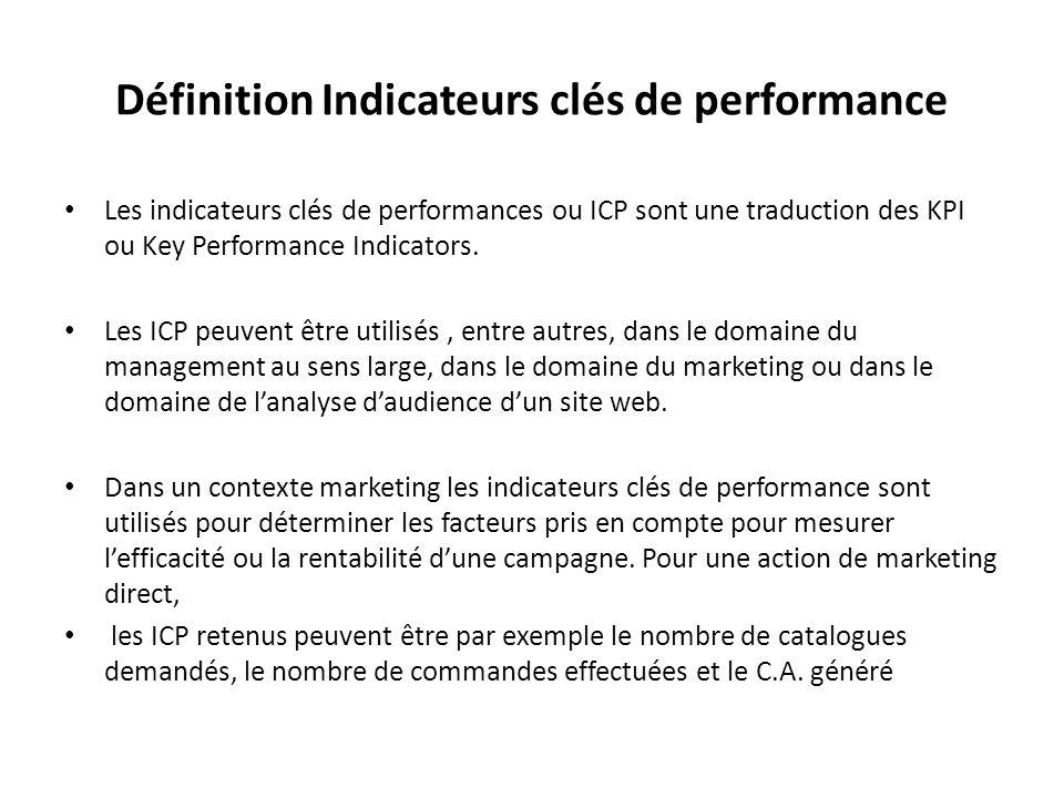 Définition Indicateurs clés de performance Les indicateurs clés de performances ou ICP sont une traduction des KPI ou Key Performance Indicators. Les
