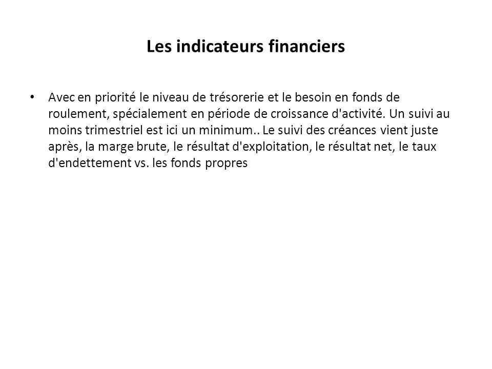 Les indicateurs financiers Avec en priorité le niveau de trésorerie et le besoin en fonds de roulement, spécialement en période de croissance d'activi