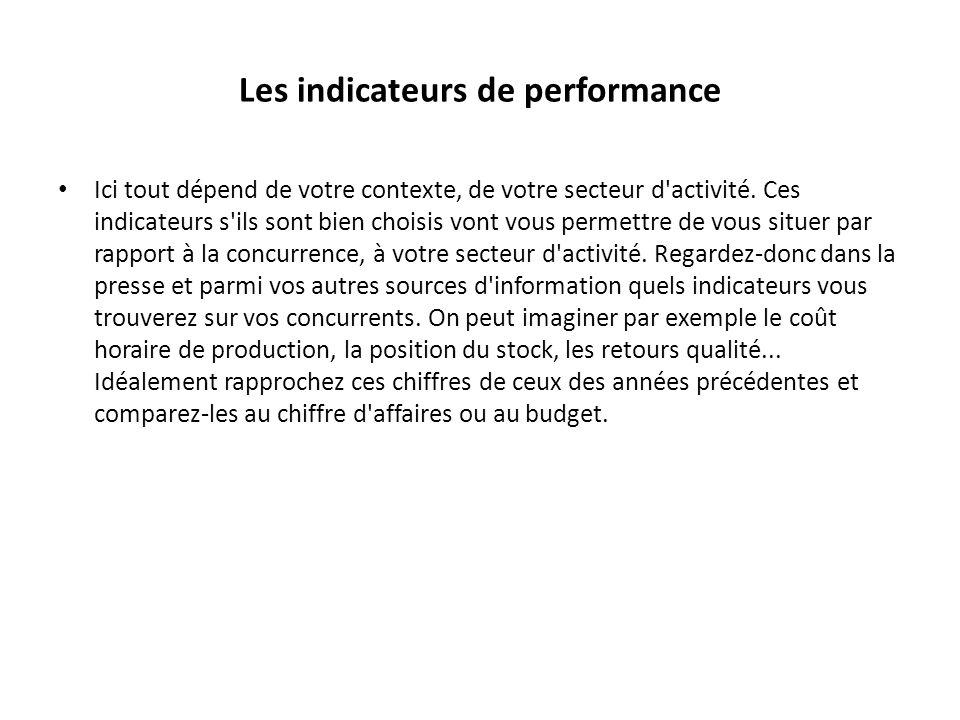 Les indicateurs de performance Ici tout dépend de votre contexte, de votre secteur d'activité. Ces indicateurs s'ils sont bien choisis vont vous perme