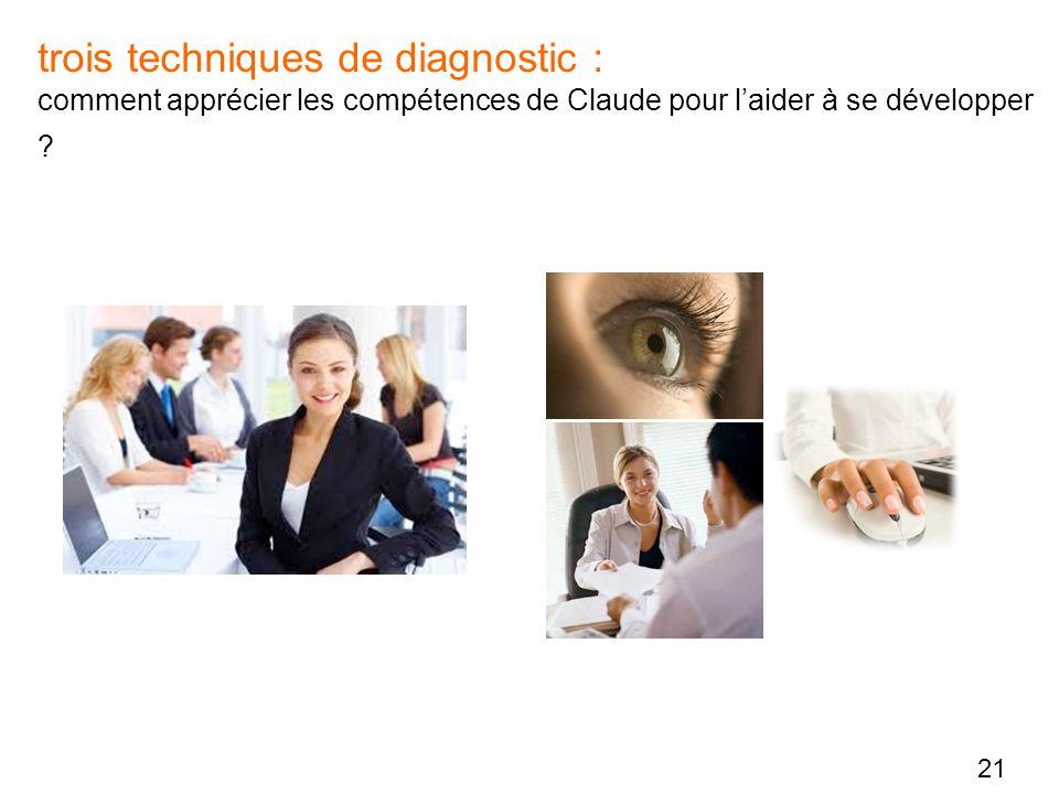 21 trois techniques de diagnostic : comment apprécier les compétences de Claude pour laider à se développer ?