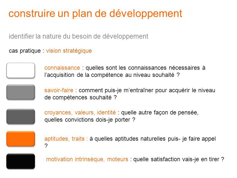 cas pratique : vision stratégique identifier la nature du besoin de développement construire un plan de développement connaissance : quelles sont les
