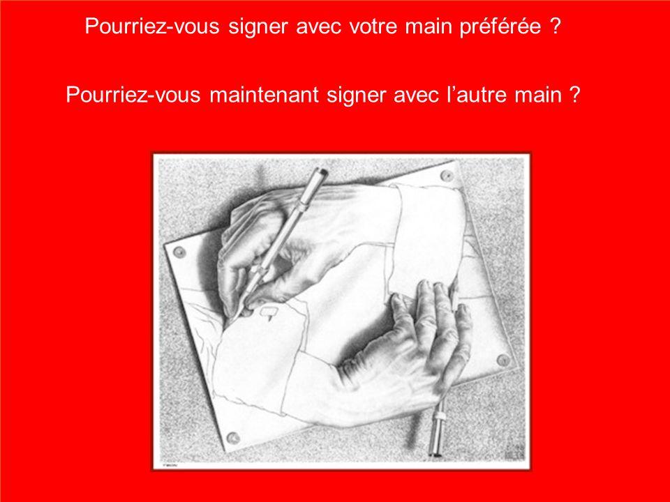 5 Pourriez-vous signer avec votre main préférée ? Pourriez-vous maintenant signer avec lautre main ?