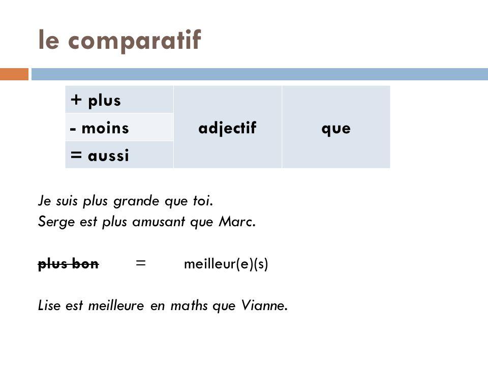 le comparatif Je suis plus grande que toi. Serge est plus amusant que Marc. plus bon = meilleur(e)(s) Lise est meilleure en maths que Vianne. + plus a