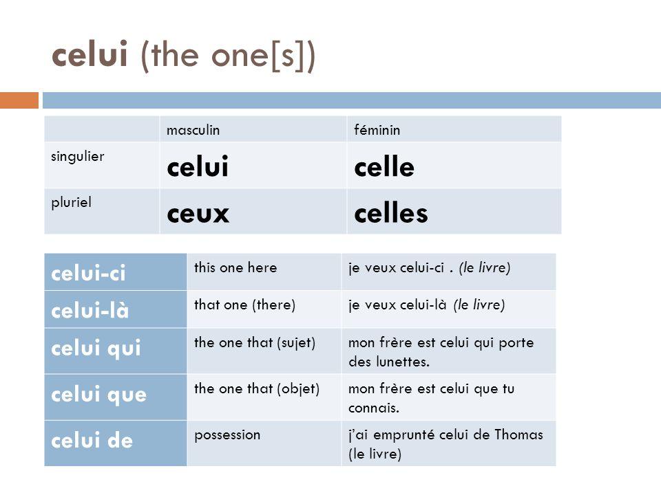 celui (the one[s]) masculinféminin singulier celuicelle pluriel ceuxcelles celui-ci this one hereje veux celui-ci. (le livre) celui-là that one (there
